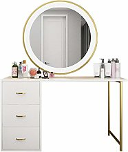 Liuzecai Makeup Table 3 Drawers White Dressing