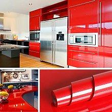Livelynine 40CMx5M Gloss Red Wallpaper for Living