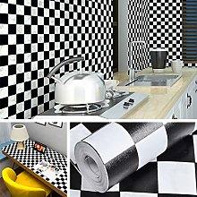 Livelynine 45CMx7M Black and White Wallpaper for