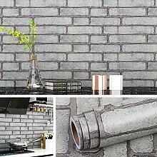 Livelynine 45CMx7M Grey Brick Wallpaper for Living