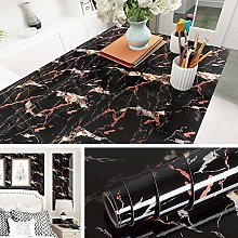 Livelynine Black Contact Paper Marble Wallpaper