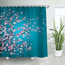 LIVILAN Cherry Blossom Shower Curtain, Floral Teal