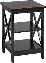 Living Room 3-Tier Wooden Side End Table Shelves