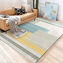 Living Room Area Rug Gray blue yellow Indoor or