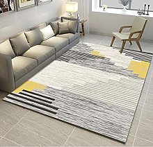 Living Room Area Rug Yellow gray stripes Indoor or