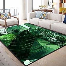 Living Room Carpet,Green Leaves 3D Printed Big