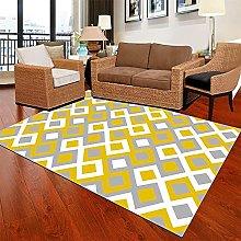 Living Room Fireside Rug Yellow Gray Geometric