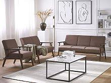 Living Room Furniture Set Brown Upholstered Seats