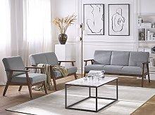Living Room Furniture Set Grey Upholstered Seats