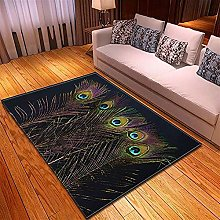 Living Room Rug 3D Peacock Feather Pattern Rug