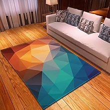 Living Room Rug Blue and orange geometry 3.93x5.57