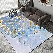Living Room Rug,Contemporary Artistic Blue Ink