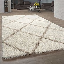 Living Room Rug Deep-Pile Shaggy Scandi Design