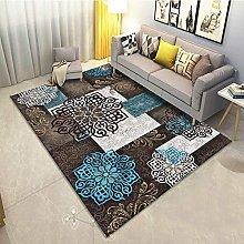 Living Room Rug,European Retro Distressed Mandala