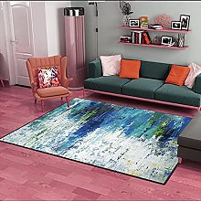Living Room Rug,Modern Abstraction Gray Teal Navy