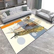 Living Room Rug,Modern Golden Animal Feathers