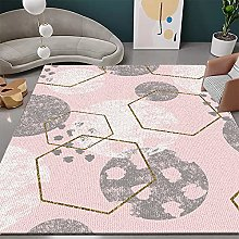 Living Room Rug,Modern Nordic Geometric Gold Line
