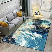 Living Room Rug,Modern Nordic Teal Marbling