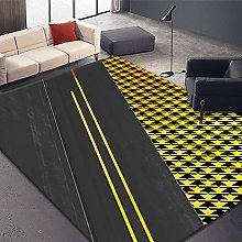 Living Room Rug, Modern Yellow Houndstooth Pattern