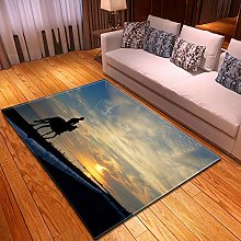 Living Room Rug Sunset animal horse 3.93x5.57 foo