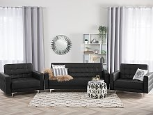 Living Room Set Black Faux Leather Tufted 3 Seater