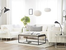 Living Room Set White Faux Leather Tufted 3 Seater