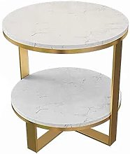 Living Room Sofa Table, 2-tier Marble Round Side