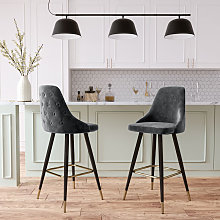 Livingandhome - 2x Velvet Bar Stools Kitchen