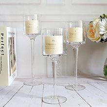 Livingandhome - 3 pcs Elegant Tea Light Glass