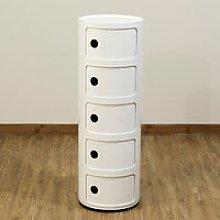 Livingandhome - 5 Drawer Round Bathroom Cabinet