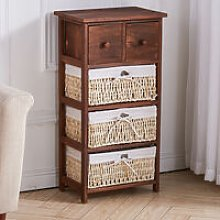 Livingandhome - Brown Wood Chest of Drawers
