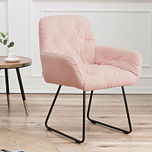 Livingandhome - Casual Linen Padded Armchair, Pink