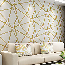 Livingandhome - Gold Geometric Striped Non-woven