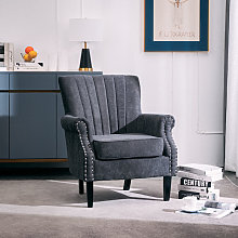 Livingandhome - Grey Fabric Chesterfield Tub Chair