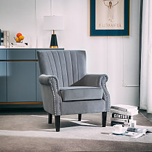 Livingandhome - Grey Frosted Velvet Chesterfield