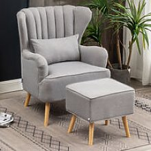 Livingandhome - Grey Linen Armchair and Footstool