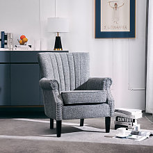 Livingandhome - Grey Linen Chesterfield Tub Chair