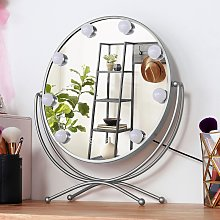 Livingandhome - LED Touch Screen HD Dimmable Tabletop Makeup Mirror, White