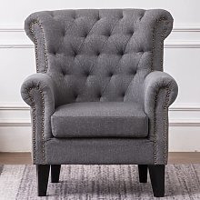 Livingandhome - Linen Chesterfield Tub Chair