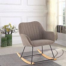 Livingandhome - Linen Rocking Chair Armchair,