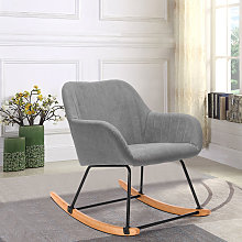 Livingandhome - Linen Rocking Chair Armchair, Grey