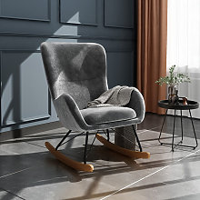 Livingandhome - Linen Rocking Chair Armchair With