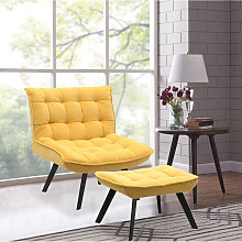 Livingandhome - Modern Lounge Chair And Footstool