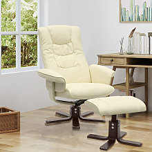 Livingandhome - PU Leather Swivel Reclining Office