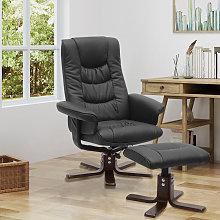 Livingandhome - PU Leather Swivel Reclining Office
