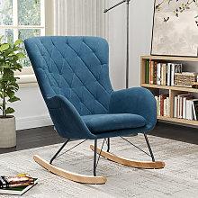 Livingandhome - Rhombus Linen Rocking Chair