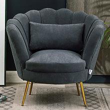 Livingandhome - Velvet Lotus Scallop Tub Chair