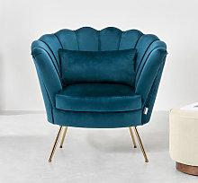 Livingandhome - Velvet Scalloped Accent Tub Chair