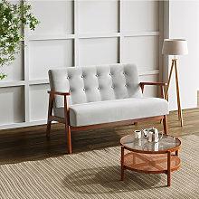 Livingandhome - Wooden Frame 2 Seater Sofa