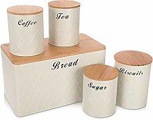 LIVIVO 5pc Kitchen Storage Set - Tea Coffee Sugar